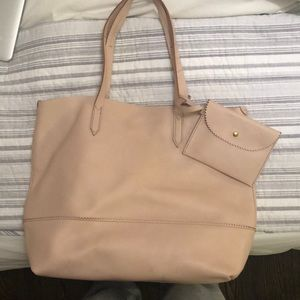 J.Crew leather tote w/ interior wristlet attached
